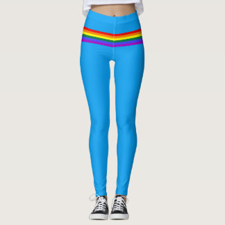 Pride flag rainbow custom Leggings bright blue