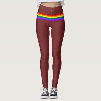 Pride flag rainbow custom Leggings burgundy