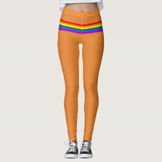 Pride flag rainbow custom Leggings orange