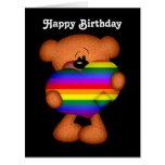 Pride Heart Teddy Bear Happy Birthday Greeting Cards
