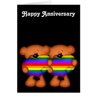 Pride Heart Teddy Bears Happy Anniversary Card