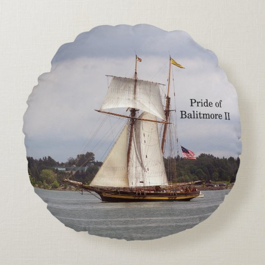 Pride of Baltimore II round pillow