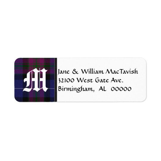 Pride of Scotland Plaid Monogram Address Labels