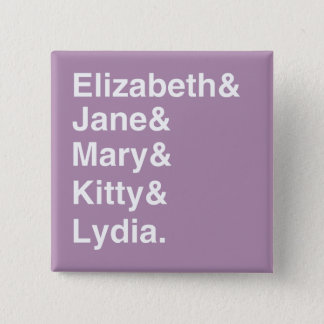 Pride & Prejudice Girls Names List Button  (Purple