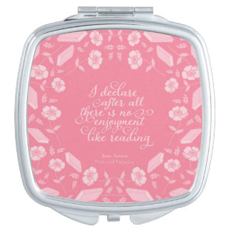 Pride & Prejudice Jane Austen Floral Bookish Quote Makeup Mirror