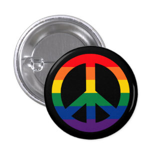 Pride Rainbow Peace Sign Button
