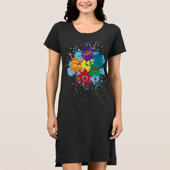 Pride Rainbow Splatter T-Shirt Dress