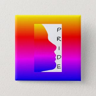 Pride Silhouette of a Rainbow Face 2 Inch Square Button