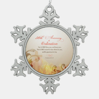 Priest, 50th Anniversary of Ordination Blessing Snowflake Pewter Christmas Ornament