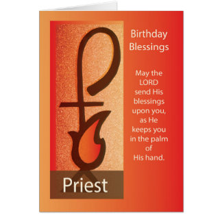 Priest Birthday, Shepherd Staff & Flame Religious Card
