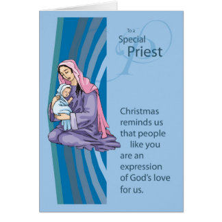 Priest Christams Card with Mary and Infant Jesus