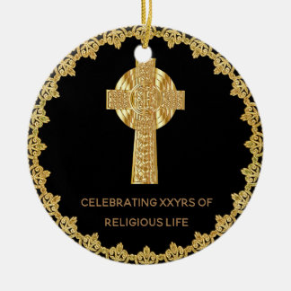 Priest Ordination Anniversary Commemorative Cross Ceramic Ornament