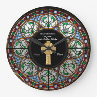 Priest Ordination Anniversary Stained Glass Cross Large Clock