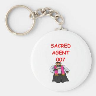 priest secret agent basic round button keychain