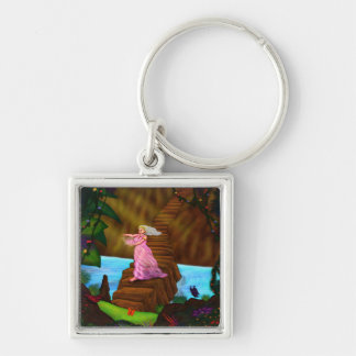 priest woman with crystal flower in jungle keychain
