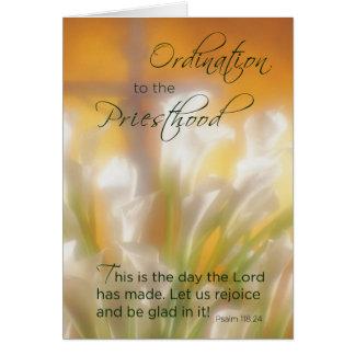 Priesthood Ordination, Lilies & Cross Card