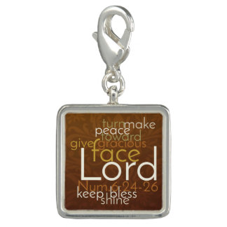 Priestly Blessing on Copper Brown Damask Charm