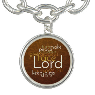 Priestly Blessing on Copper Brown Damask Charm Bracelets