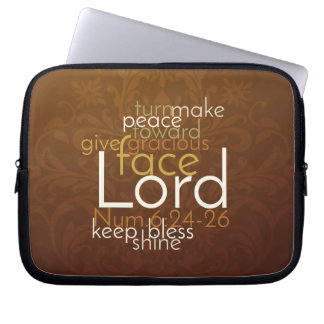 Priestly Blessing on Copper Brown Damask Computer Sleeves