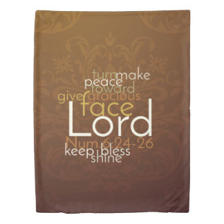 Priestly Blessing on Copper Brown Damask Duvet Cover