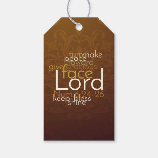Priestly Blessing on Copper Brown Damask Gift Tags