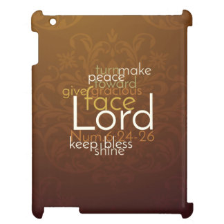Priestly Blessing on Copper Brown Damask iPad Case