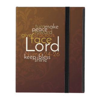 Priestly Blessing on Copper Brown Damask iPad Folio Case