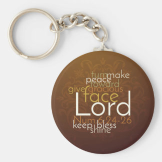 Priestly Blessing on Copper Brown Damask Keychain