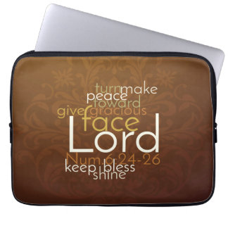 Priestly Blessing on Copper Brown Damask Laptop Computer Sleeve