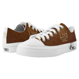 Priestly Blessing on Copper Brown Damask Low-Top Sneakers