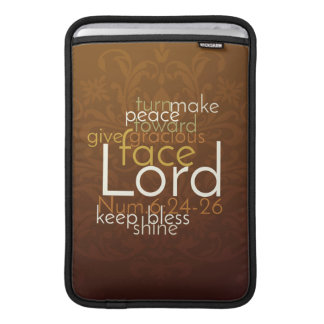 Priestly Blessing on Copper Brown Damask MacBook Sleeve