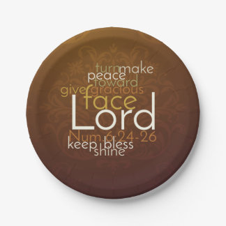Priestly Blessing on Copper Brown Damask Paper Plate