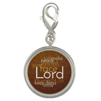 Priestly Blessing on Copper Brown Damask Photo Charms
