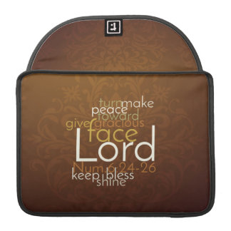 Priestly Blessing on Copper Brown Damask Sleeve For MacBook Pro