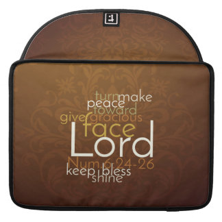 Priestly Blessing on Copper Brown Damask Sleeve For MacBooks
