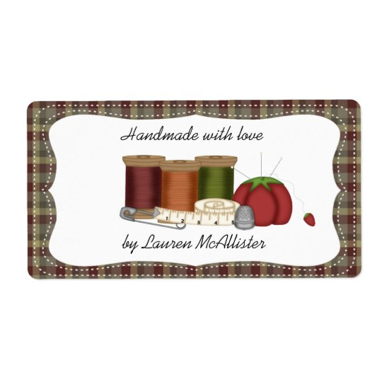 Prim Country Handmade Sewing Label Shipping Label