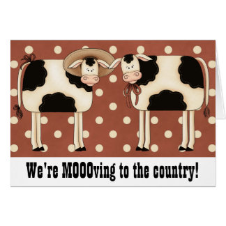 Prim Cows Change of Address Rural Country Home Card