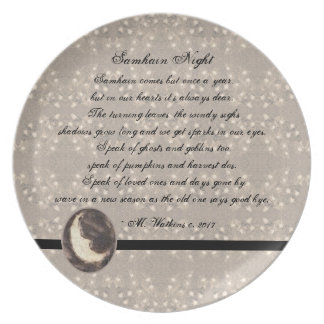 Prim Moon and Stars Samhain Original Poetry Plate