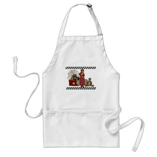 Prim Rose and Bernice with checks white apron