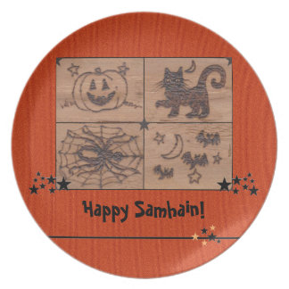 Prim Samhain Patches Woodburned Retro Plate