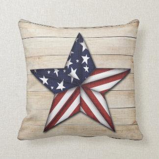 Prim Star on Wood, Americana Throw Pillow