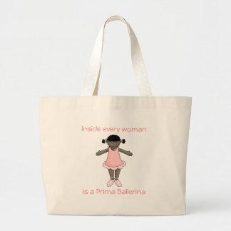 Prima Ballerina Bag-African American Large Tote Bag