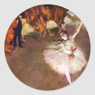 Prima Ballerina by Edgar Degas, Vintage Ballet Art Classic Round Sticker