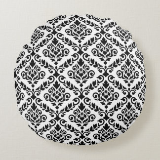 Prima Damask 2Way Ptn Black & White Round Pillow