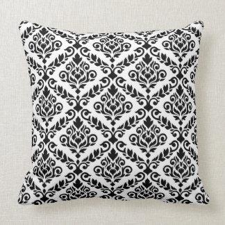 Prima Damask 2Way Ptn Black & White Throw Pillow
