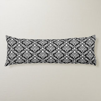 Prima Damask 2Way Rpt Ptn Black on White Body Pillow