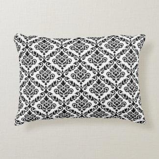 Prima Damask 2Way Rpt Ptn Black & White Accent Pillow