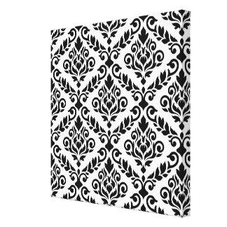 Prima Damask Big Ptn Black on White Canvas Print