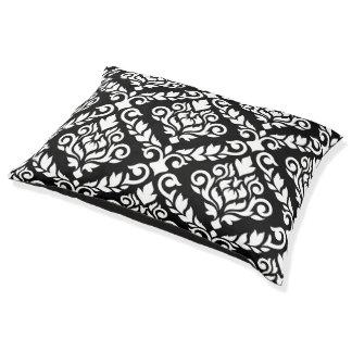 Prima Damask Lg Ptn White on Black Large Dog Bed