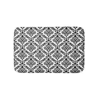 Prima Damask Pattern Black on White Bathroom Mat
